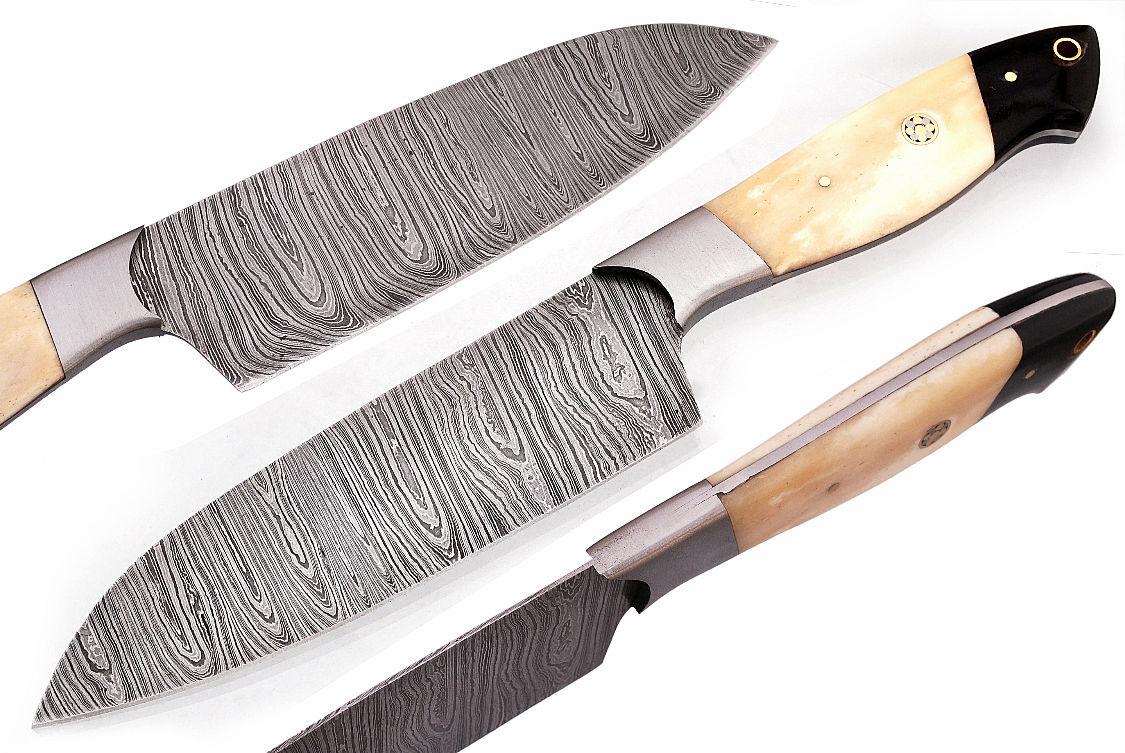 07-BH Damascus Kitchen Knife Bone Handle